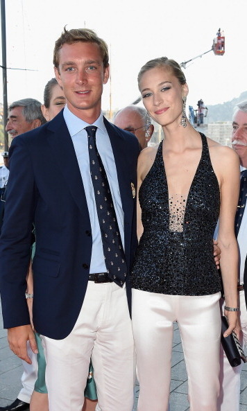 Pierre was smitten with his fiancée — who looked dashing in monochrome colors — at the Monaco Yacht Club opening in 2014 