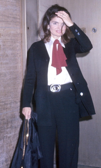 Proving she was able to adapt with the times – and 6 years before Diane Keaton wore similar masculine looks in 'Annie Hall' – Jackie wore wide-leg trousers to an event in New York in 1971.