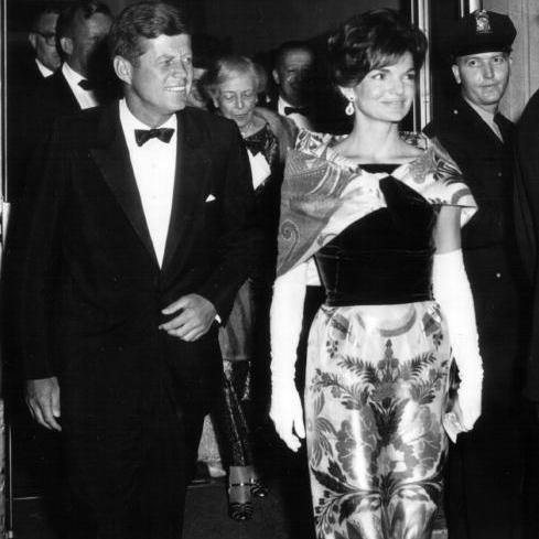 Though known for her suit dresses and pastel colors throughout her husband's political career, Jackie would sometimes break from her classic look to make a statement.
