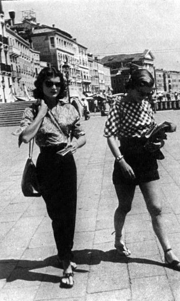 A well-traveled Jackie proved her vacation style was on point, too, as seen here in Venice in 1951.