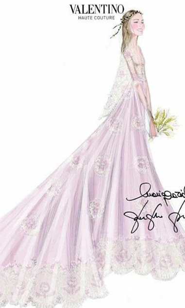 Here's the dreamy sketch by Valentino creative directors Maria Grazia Chiuri and Pierpaolo Piccioli, who also designed Beatrice's sister-in-law Tatiana Santo Domingo's wedding dress last year.