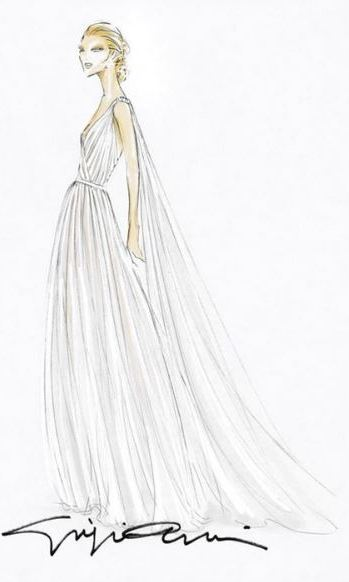 Here, designer Armani's sketch of the classic creation.