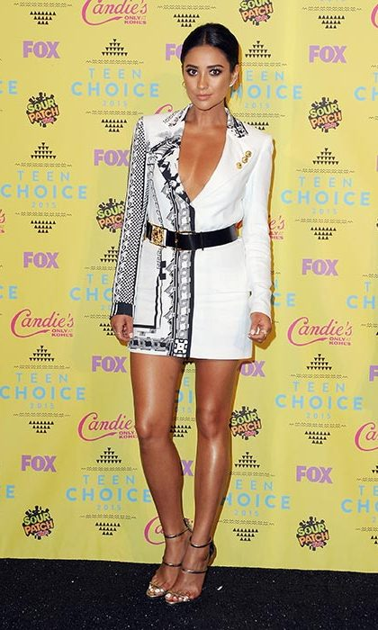 Shay Mitchell wore a bold black and white half print dress.