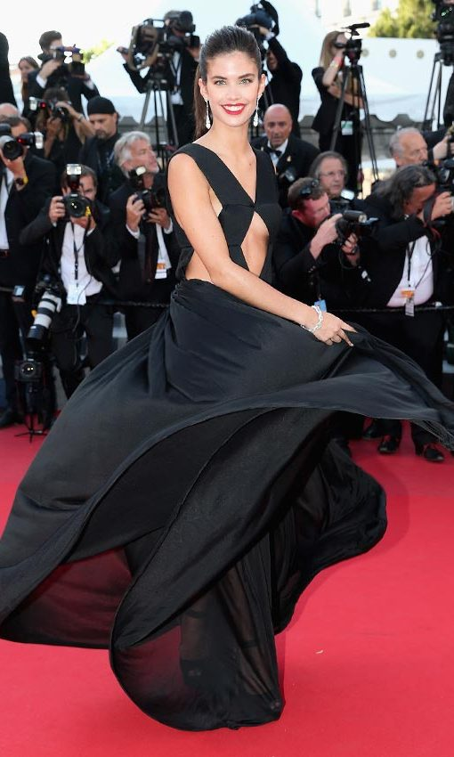 "Sara Sampaio rocked this simple black dress by Vionnet at the premiere of ""Inside Out"" in Cannes.