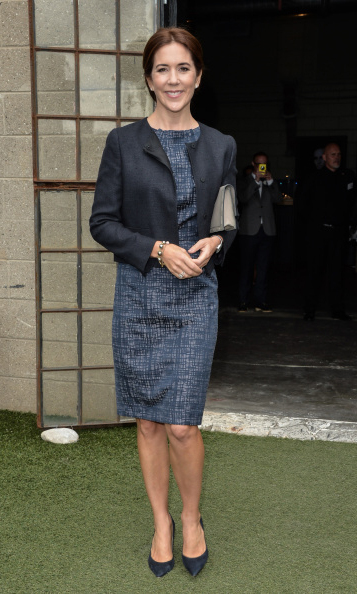 Crown Princess Mary chose an above the knee dress during a visit to Toronto. 