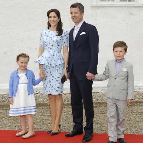 Crown Princess Mary accentuated her waist and legs in this peplum number for Princess Athena's christening and naming ceremony. 