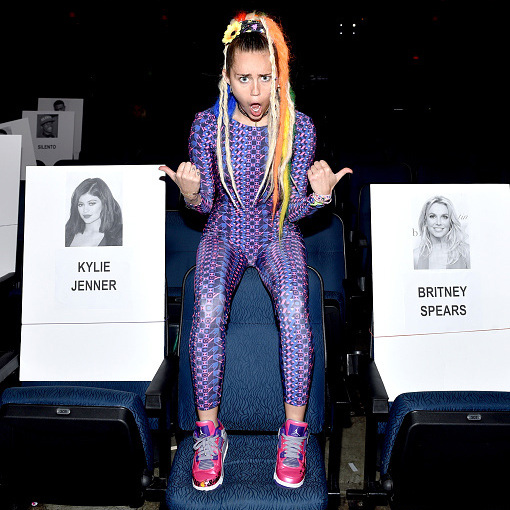 August 27: Miley Cyrus wore an EKAT katsuit while rehearsing for her hosting debut for MTV's Video Music Awards.