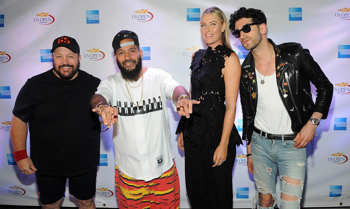 "Aug 26: Kevin James, Maria Sharapova and Chromeo had a friendly competition at the American Express ""Rally on the River"" event in New York City.