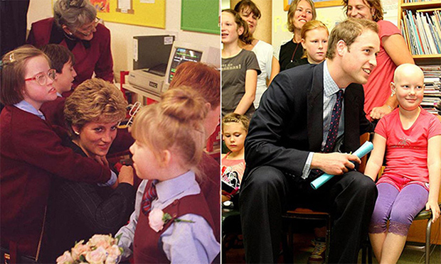 Diana's sons also share her compassion for vulnerable kids. Here, the Princess received a hug at a London school for children with disabilities, while William bonded with patients at a New Zealand hospital in 2010.