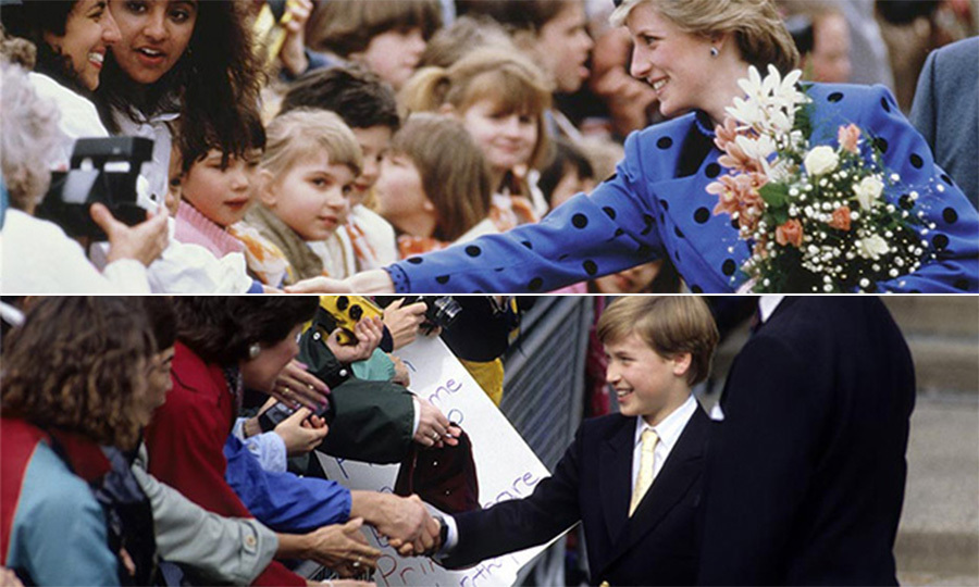 Always close by for an encouraging word and a loving hug, Diana gave her sons the confidence to succeed as she showed them the ropes. Five years after the photograph on the top was taken, William, too, looked confident as he made the rounds on his first – but certainly not his last – visit to Canada.