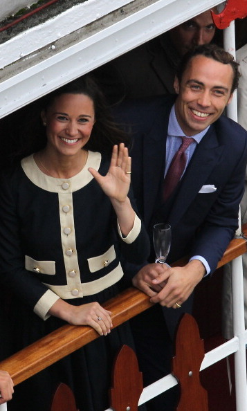 She may not be royal, but she fits right in. Here, Pippa celebrated the Queen's Jubilee on a boat on the River Thames.