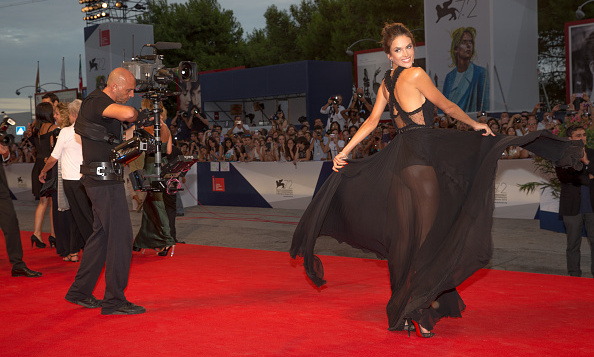 Alessandra Ambrosio swung around in her black sheer dress during the 'Everest' premiere at the Venice Film Festival on September 3.