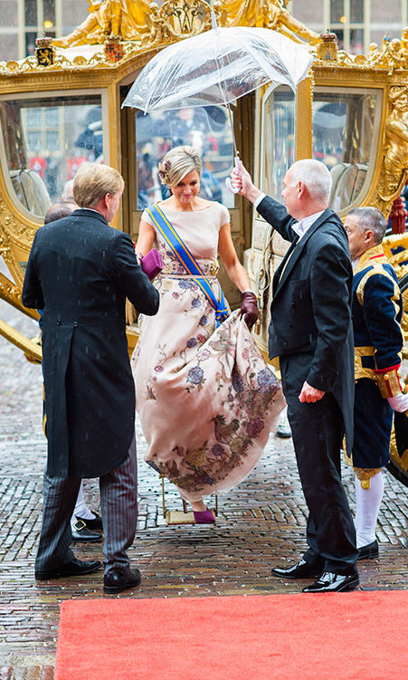 Queen Maxima of The Netherlands has a Cinderella moment as she arrives for the opening of the parliamentary year in The Hague, The Netherlands. <br>