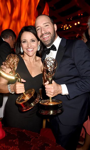 September 20: 'Veep' stars Julia Louis-Dreyfus and Tony Hale showed off their Emmys at the HBO party.