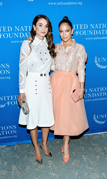 Dazzling duo! Queen Rania and Jennifer Lopez both looks radiant at the UN Foundation's Gender Equality Discussion at The Four Seasons Restaurant in NYC.