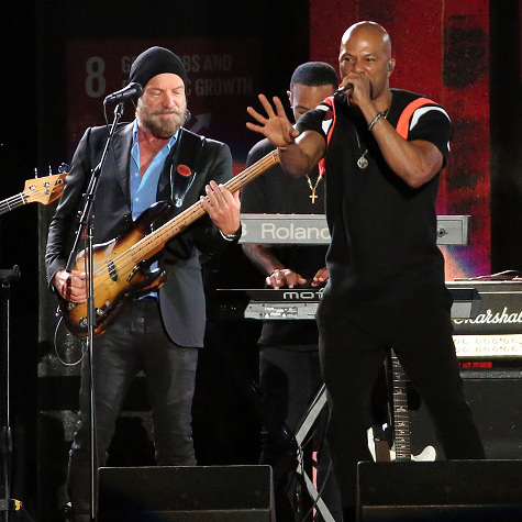 Surprise! Rock legend Sting took the stage to perform with Grammy award winning rapper Common. 