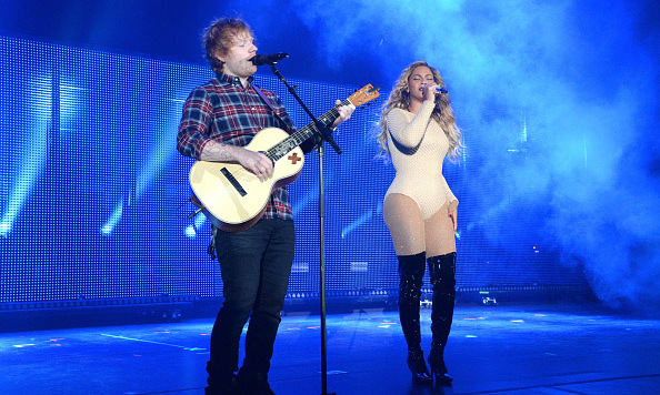 "Fresh off her European vacation, Beyoncé returned to NYC to perform. Ed Sheeran later joined her for a duet of ""Drunk in Love.""