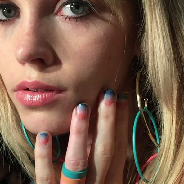 Celebrity manicurist Michelle used Essie polish to create  'Lucite Sunset' for Rebecca Minkoff during New York Fashion Week.