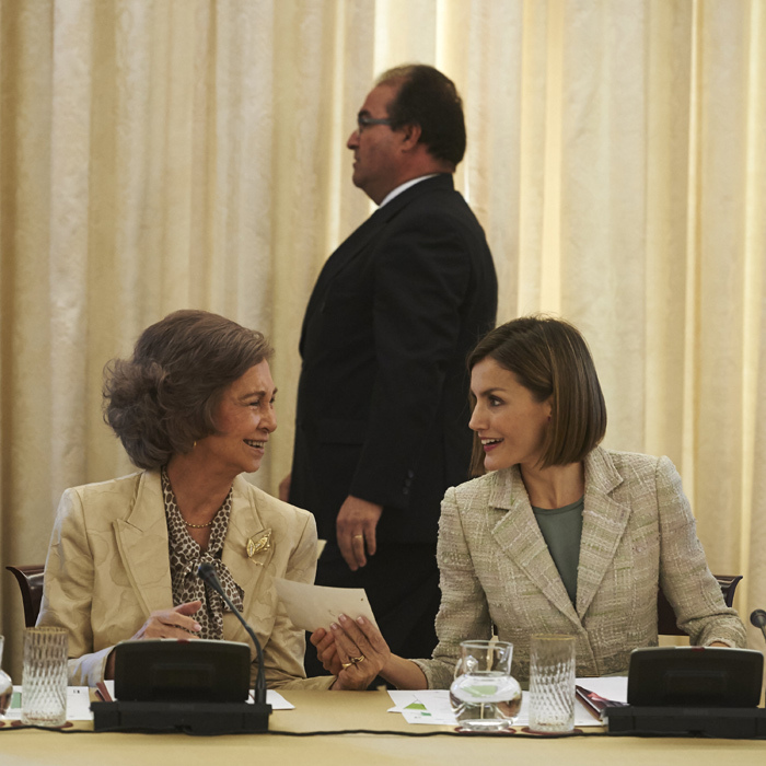 Queen Letizia of Spain and mother-in-law Queen Sofia had a catch up as they promoted the Foundation Against Drug Addiction at the Zarzuela Palace in Madrid.