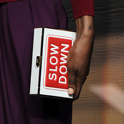 Anya Hindmarch's peachy pale nails helped showcase her statement handbags.