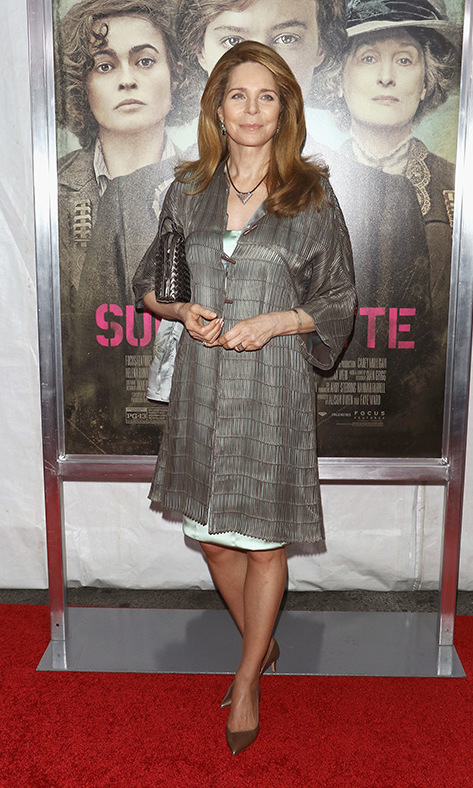 Queen Noor of Jordan turned out for the 'Suffragette' premiere in New York City. <br>