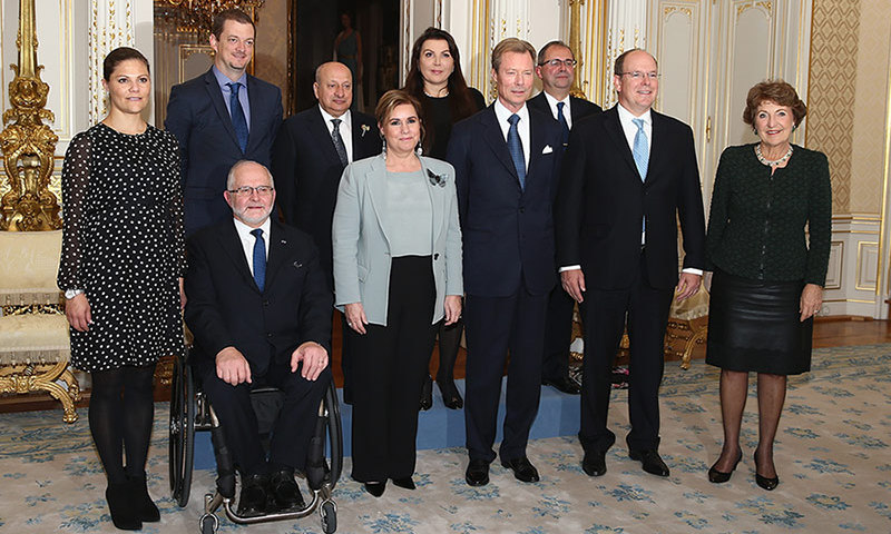 A right royal European gathering as pregnant Crown Princess Victoria of Sweden attended the 5th honorary board of the International Paralympic Committee with Grand Duchess Maria Teresa and Grand Duke Henri of Luxembourg, center, and Prince Albert II of Monaco and Princess Margriet of The Netherlands, right, in Luxembourg. <br>