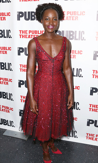 October 14: Lupita Nyong'o was a vision in Dior during opening night of her new play 'Eclipsed' at the Public Theatre in New York City. 