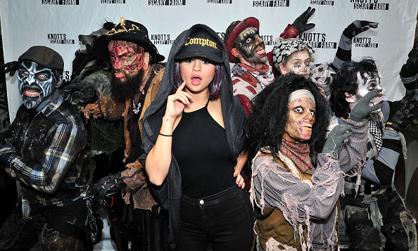 October 17: Selena Gomez had a fright at Knott's Scary Farm in Buena Park, California.