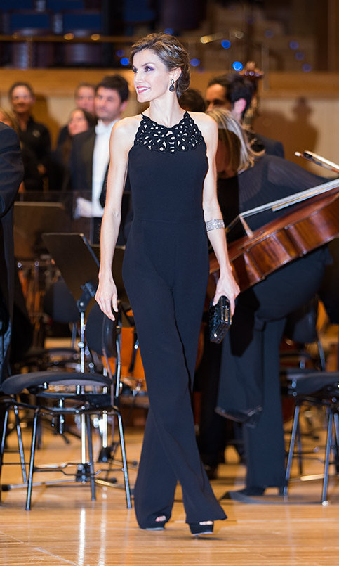 Queen Letizia looked stunning in a sleeveless black Felipe Varela jumpsuit with Swarovski crystal detailing at the opening ceremony of the Princess of Asturias Awards in October 2015