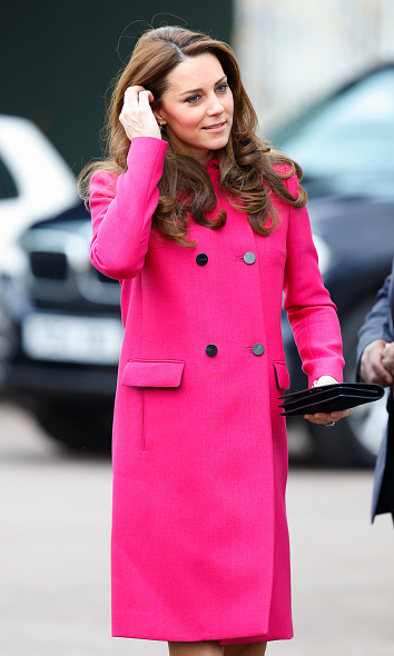 The Duchess dressed her baby bump in a pink Mulberry coat that she had worn previously in New York as she joined Prince William to make various visits across south London in March 2015.
