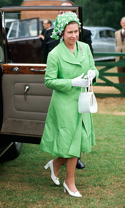 The Queen wore a silk mint green coat and matching dress in 1973.