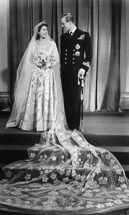 Then-Princess Elizabeth with Philip Mountbatten on their wedding day in 1947.
