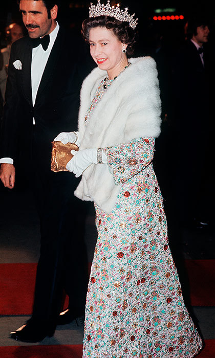 The Queen was a colorful guest of honor at a premiere on the West End in 1973.