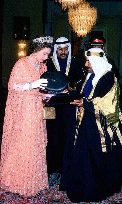 During a gift exchange with the Amir Of Bahrain in 1979.