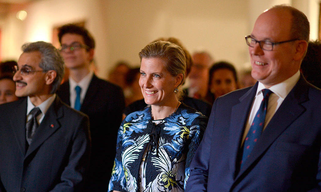 From left to right, Prince Al-Waleed bin Talal of Saudia Arabia, Sophie Wessex and Prince Albert of Monaco attended the Prince Albert II of Monaco Foundation Dinner In Honor Of Winston Churchill at Sotheby's in London, England.<br>