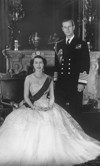 Queen Elizabeth II posed with Prince Philip at Buckingham Palace in 1953.