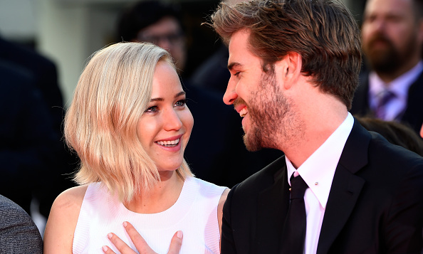 October 31: Jennifer and Liam, stars of the film which opens on November 20, shared a laugh during the ceremony. <br>