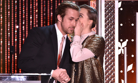 November 1: Secrets, secrets are no fun! Saoirse Ronan whispered to Ryan Gosling as she accepted her award at the Hollywood Film Awards in Beverly Hills.