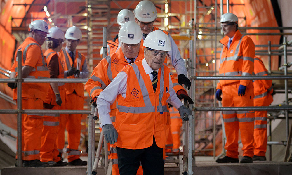 There's no stopping 94-year-old Prince Philip as he checked out the new Crossrail station near Farringdon in London, where he met some of the apprentices, construction workers and engineers working on the project. <br>Photo: Getty Images
