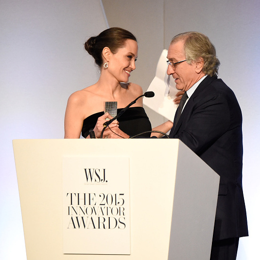 November 4: Robert DeNiro presented Angelina Jolie with an award at the 2015 WSJ. Innovator Awards in New York City. 