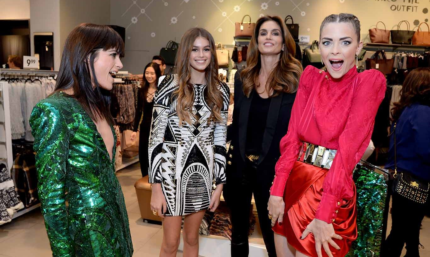 November 4: Girls just wanna have fun in Balmain! Selma Blair, Kaia Gerber, her mother Cindy Crawford and Jaime King attended the Balmain x H&M Los Angeles VIP Pre-Launch.