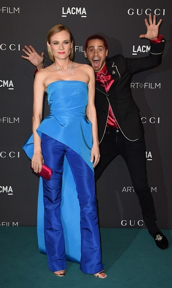 November 7: Such a joker! Jared Leto photobombed a Monique Lhuillier clad Diane Kruger at LACMA's Art+Film Gala honoring James Turrell and Alejandro G Iñárritu in L.A.