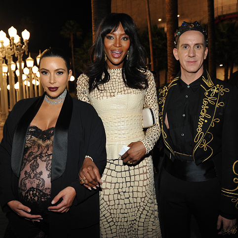 November 7: Kim Kardashian West, who opted for a sheer lace jumpsuit, caught up with Naomi Campbell and Jeremy Scott at the LACMA 2015 Art+Film Gala in L.A.