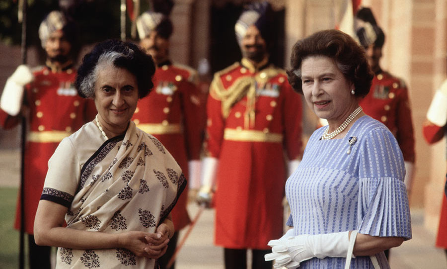 The Queen met with Mrs. Indira Gandhi at Hyderabad House in Delhi, on November 18, 1983.