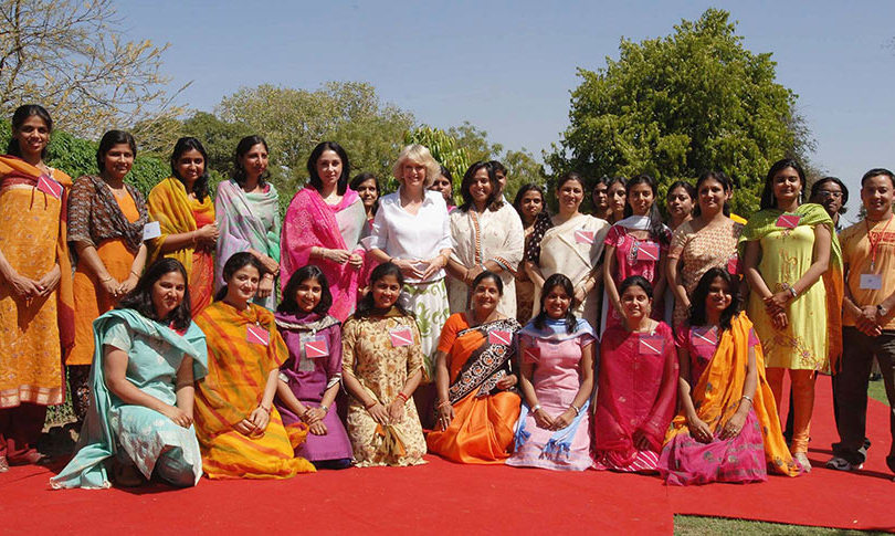 Camilla joined staff during a visit the Montessori Palace School at the City Palace in Jaipur, 2006.