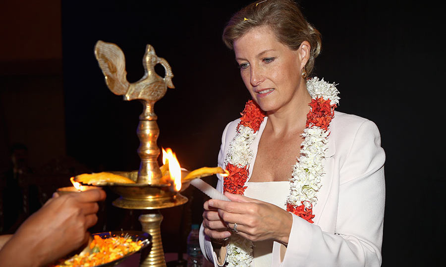 Sophie, Countess of Wessex took part in a traditional Indian ceremony ahead of an opthalmic conference on day four of her visit to India with the Charity ORBIS in 2013 in Kolkata.