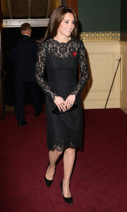 The mom-of-two looked sophisticated in a black lace number to attend the annual Festival of Remembrance commemorating fallen soldiers and their families. <br>
