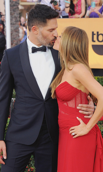These two aren't shy when it comes to PDA. Joe and Sofia stole a kiss at the 21st Annual Screen Actors Guild Awards back in January 2015.