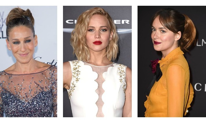 From Sarah Jessica Parker's sleek up-do to Jennifer Lawrence's classic bob and Dakota Johnson's simply glamorous statement ponytail... Take some inspiration from the stars and try some of these hot hair looks for the party season!