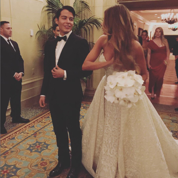 Sofia's son Manolo walked his mother down the aisle.<br>